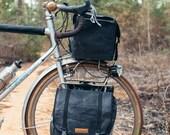 Southern Tier Randonneur - waxed canvas bike bag -- small/black