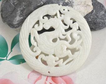 Carved Horse Jade Pendant,White Jade Pendant Old Dragon Jade Pendant Jade Pendant Double Face  Amulet Talisman Necklace Pendant Jewerly