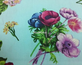Flowers, on blue, fat quarter, pure cotton fabric