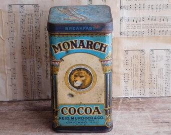 Antique Monarch Cocoa Tin, Food Canister 1930's, Breakfast Cocoa Can