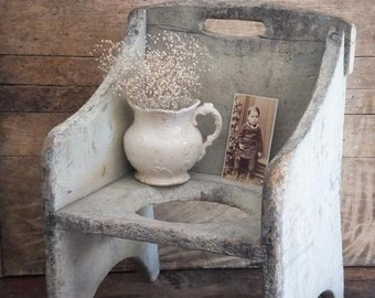 Antique Primitive Wooden Potty Chair Rustic Bathroom Decor