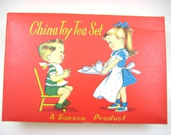 Vintage Sonsco China Tea Set, Childs Tea Party - Mint, Original Package, Abstract - Made in Japan - Tea Pot, Cups, Saucers, Creamer, Sugar