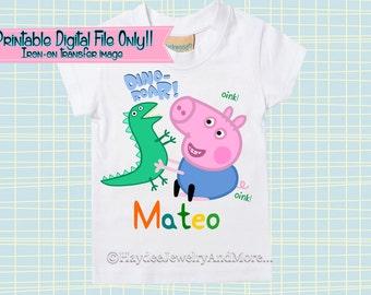 Peppa Pig George Dino-Roar- Peppa Pig-Iron on transfer T-Sirt design-Boys Peppa pig Name PRINTABLE- T-shirt design