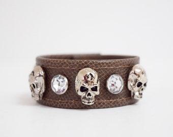 Brown Leather Skull and Diamond Studded Bracelet