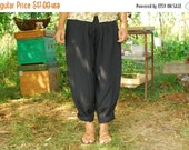 SALE Vintage Slouchy Harem Pants Genie Pants Ethnic Indian Yoga Pants Rayon Pants Elastic Waist Trousers