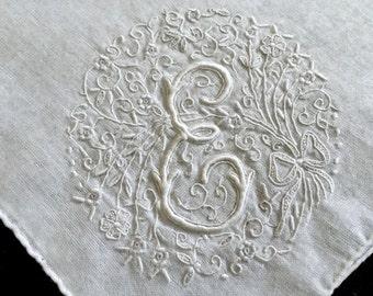 "Vintage Monogrammed ""E"" Linen Handkerchief - Antique Hanky - Monogrammed Linens - Embroidered Handkerchief - Fine Linens - Gifts"