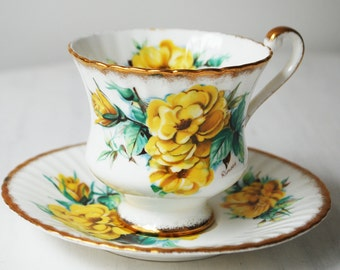 Paragon Teacup and Saucer, Yellow Wild Rose