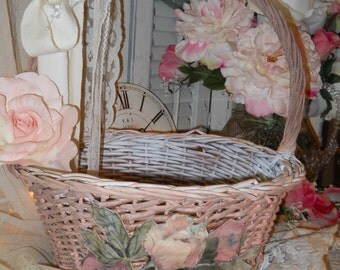 Pink Rose Basket White Inside and Bottom Pink Fabric Rose Light Pink Tattered Bow White Flower and Pearl Spray Wedding Card Basket
