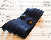 Navy Blue Leather Cuff Preloved upcycled spliced leather