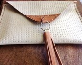 Beige leather clutch purse, cream leather with tan leather tassel