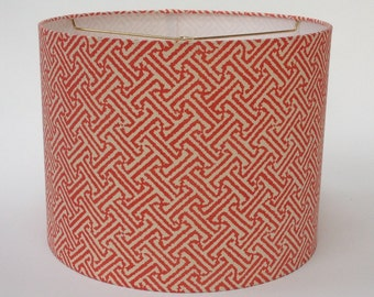 "Quadrille Java Java Shrimp Drum Lampshade 14"" Diameter X 11"" Tall - Ready to Ship"