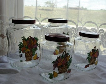Vintage glass jar canisters with fruit baskets