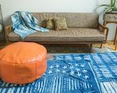 Antique Revival Leather Moroccan Pouf Ottoman- Tangerine Orange