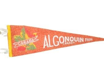 Vintage Algonquin Park Canada Felt Flag Banner