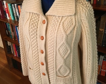COZY IN CABLES-- Warm Cream 1950s Cable Knit Cardigan Sweater--S, M