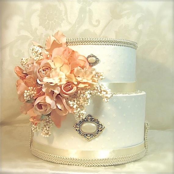 Peach Cream Wedding Card Box Wedding Card Holder Secure Lock Two Tier ...