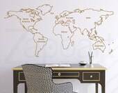 Outlined World Map Wall Decal with Continents