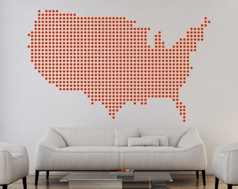 United States Dots Pattern Map Wall Decal