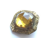 Vintage Brass and Glass Brooch Square Golden Color Stone