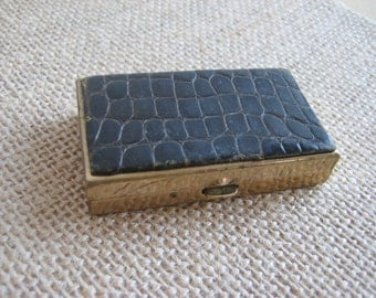 Vintage Pill Box Brass & Alligator Two Compartment