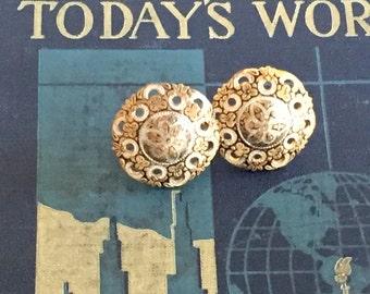 Damascene Earrings Vintage Domed Screw Backs