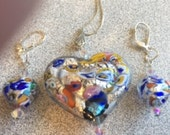 Hearts Necklace Set Klimt-Like Venetian Glass