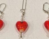 Red Venetian Glass Heart Set
