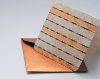 SALE-Copper and Ivory Striped Mini Card // Set of 4 // Blank Cards // Enclosure Card // Favor Tag // Advice Card
