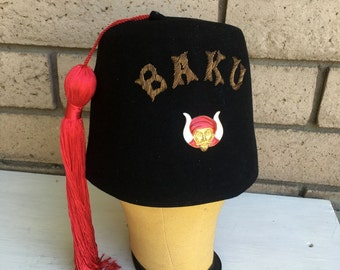 Vintage Baku Shriners Hat Masonic Fez With Pin Fraternal Supply