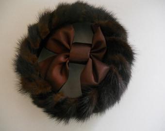 Mid Century Mink Pillbox Hat Open Crown Velvet with Satin Bow