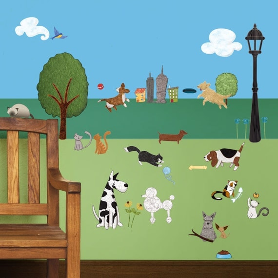 Cat And Dog Wall Sticker Set 37 Peel Amp Stick Animal And City