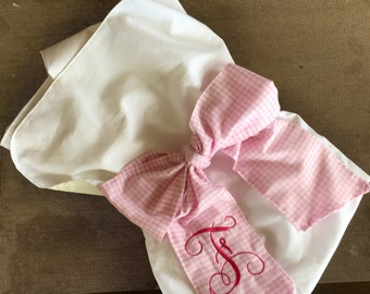 Monogrammed bow swaddle blanket personalized pink gingham big bow swaddle