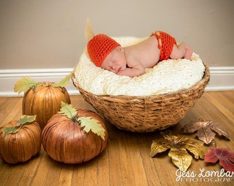 Pumpkin Beanie and Diaper cover Crochet  Set  Baby Boy Hat Photography Prop All sizes