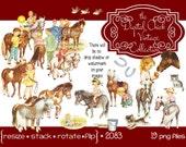 Digital Clipart, Instant Download, Vintage Ponies Boys, Girls, pony, horse, cart, pony ride, pinto, welsh, Shetland pony  19 png files 2083