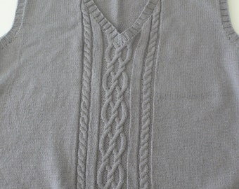 Rowan vintage handknit sleeveless sweater grey XL