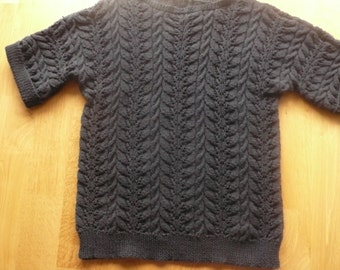 Designer black cotton cable lacy handknit tunic sweater .. turn up short sleeve cuffs L