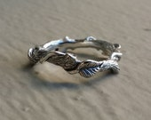 Sterling Silver Leaf, Twig and Vine Eternity Ring, Hand Sculpted Twig with Leaves and Vines by Dawn Vertrees