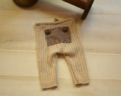 Newborn Outfit Tan Knit Pants and Top Knot Hat Photography Prop Upcycled pants