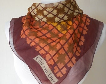 CHRISTIAN DIOR vintage 70s warm autumn hues silk square scarf