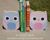 Custom Designed Wooden Owl Bookends - Custom Created to Coordinate with Your Decor or Nursery Letters - pink, blue, paisley, chevron, dots
