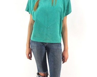 On Sale - Vintage 80s Leather Top, Minimalist Top, Blouse, Boxy, Teal Leather Top  Δ size: xs / sm