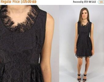 On Sale - Vintage 60s Lace Mini Dress, Floral Lace Dress, LBD Dress, Party Dress, Mod Lace Dress, Black Lace Dress Δ size: sm