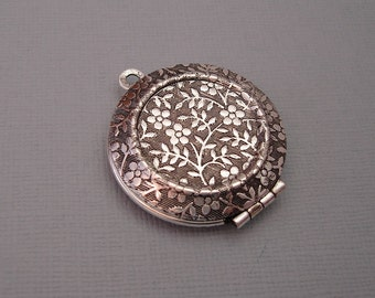 Round Photo Locket Ox Silver Brass  Engraved Forget Me Not Victorian Style Pendant.