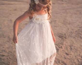 Flower girl dress, boho flower girl dress, Ivory flower girl dress, flower girl dresses, beach flower girl dress, boho girls dress, wedding