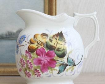 Antique Painted Floral Jug