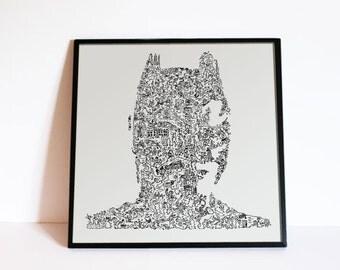 "Batman - The dark Knight - Christian Bale - Doodle Portrait - Comics art poster Gotham City - Ltd Edition of 100 - 8"" x 8"""