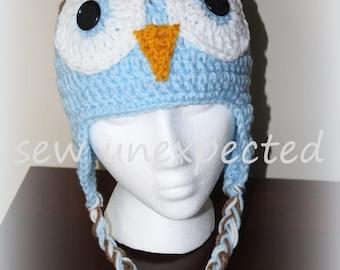 Owl Earflap Beanie  - Adult
