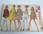 Vintage 1968 7652 Simplicity Printed Pattern Maternity Coat Dress Shirt Bathing Suit Top and Pants Size 18 Bust 38 Pieces Cut