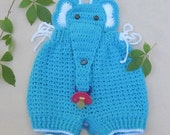 Crochet Baby Infant Romper Elephant Set, Turquoise Crochet Overall, Elephant Coverall Elephant Romper Newborn photo prop Crochet Baby Outfit