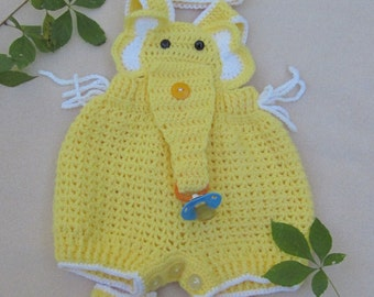 Crochet Baby Infant Romper Elephant Set, Yellow Crochet Overall, Elephant Coverall, Elephant Romper. Newborn photo prop. Crochet Baby Outfit